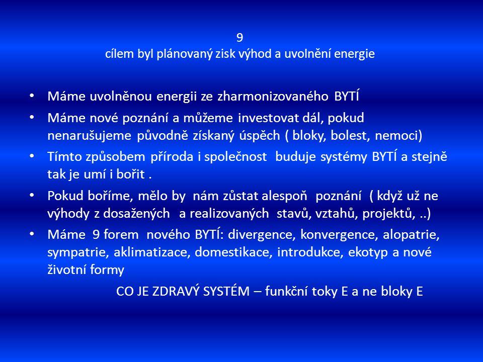 9 cílem byl plánovaný zisk výhod a uvolnění energie