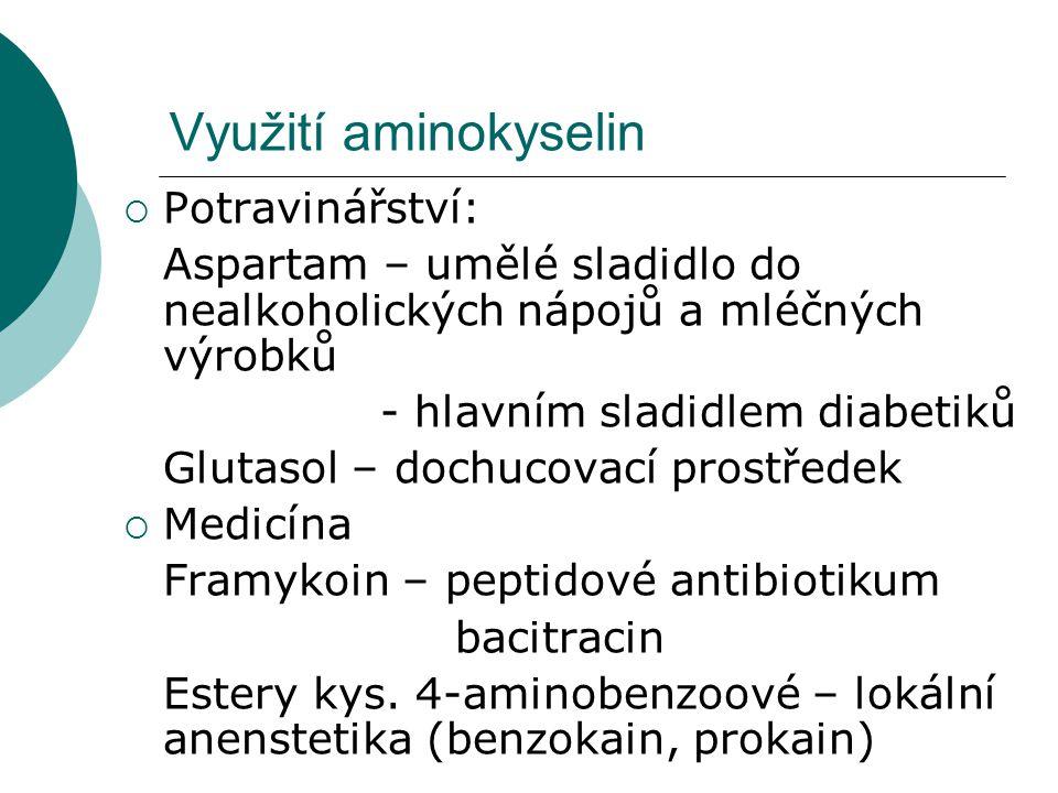 Využití aminokyselin Potravinářství: