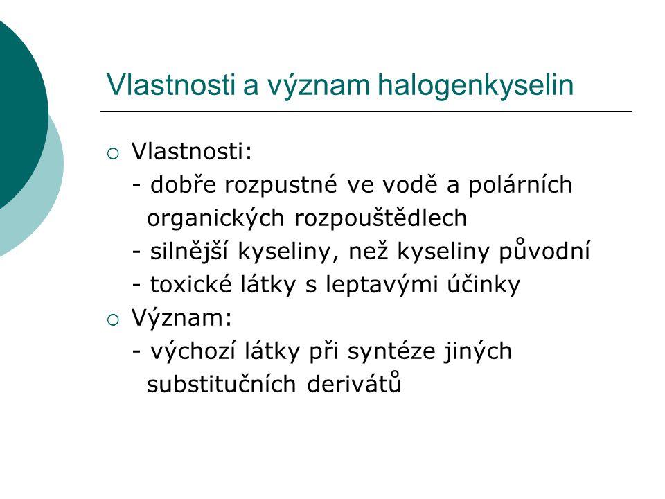 Vlastnosti a význam halogenkyselin