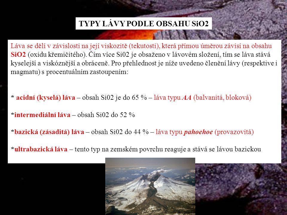 TYPY LÁVY PODLE OBSAHU SiO2