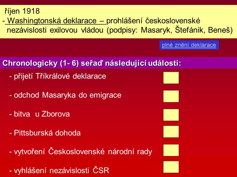 Washingtonská deklarace – prohlášení československé