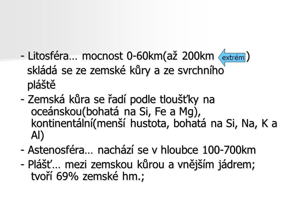 - Litosféra… mocnost 0-60km(až 200km )