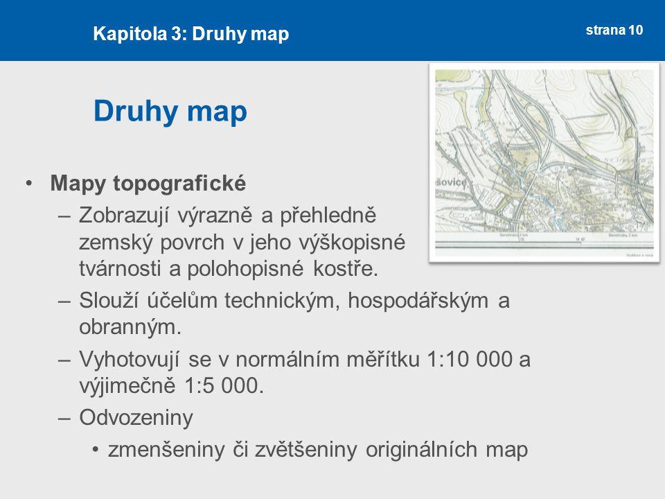 Druhy map Mapy topografické
