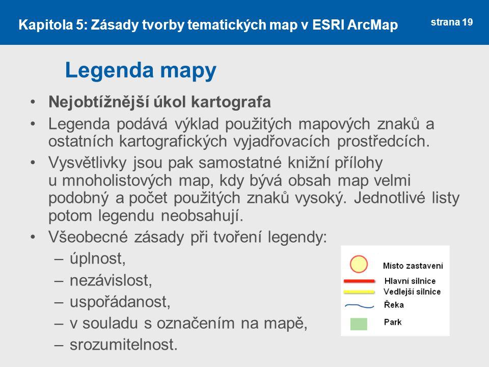Legenda mapy Nejobtížnější úkol kartografa