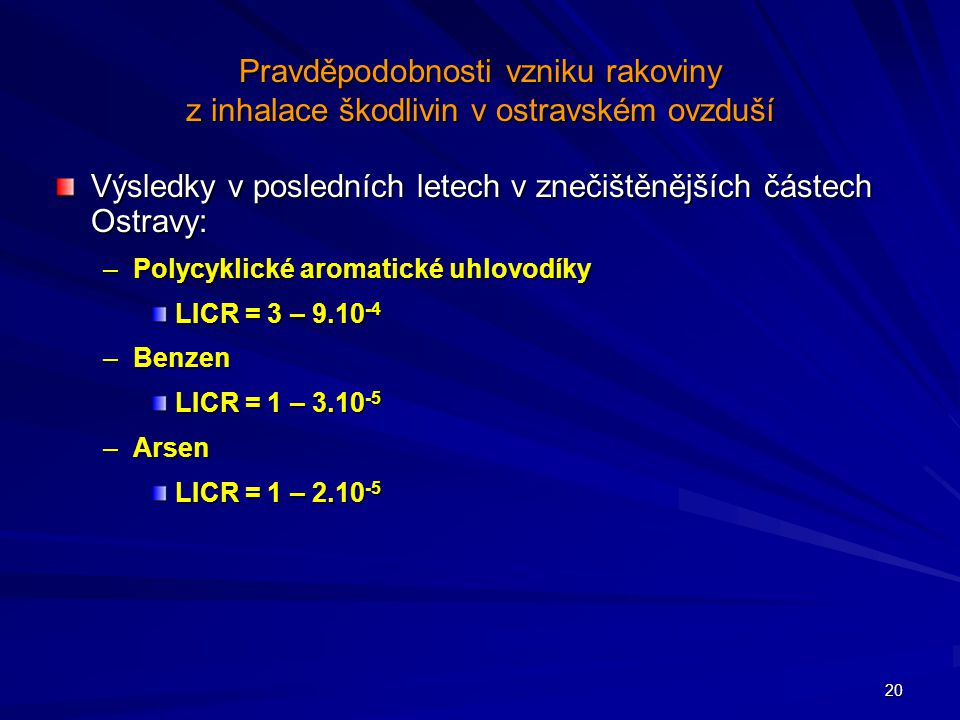 Výsledky v posledních letech v znečištěnějších částech Ostravy:
