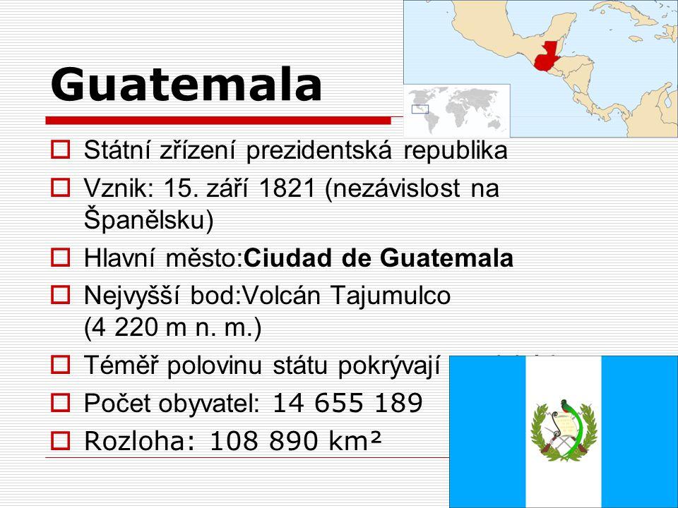 Guatemala Státní zřízení prezidentská republika