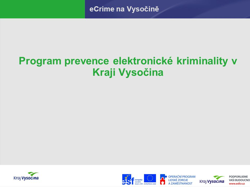 Program prevence elektronické kriminality v Kraji Vysočina
