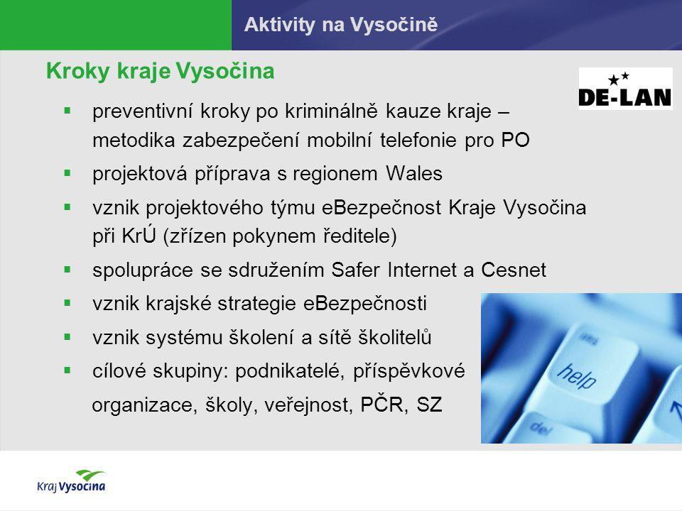 Aktivity na Vysočině Kroky kraje Vysočina. preventivní kroky po kriminálně kauze kraje – metodika zabezpečení mobilní telefonie pro PO.