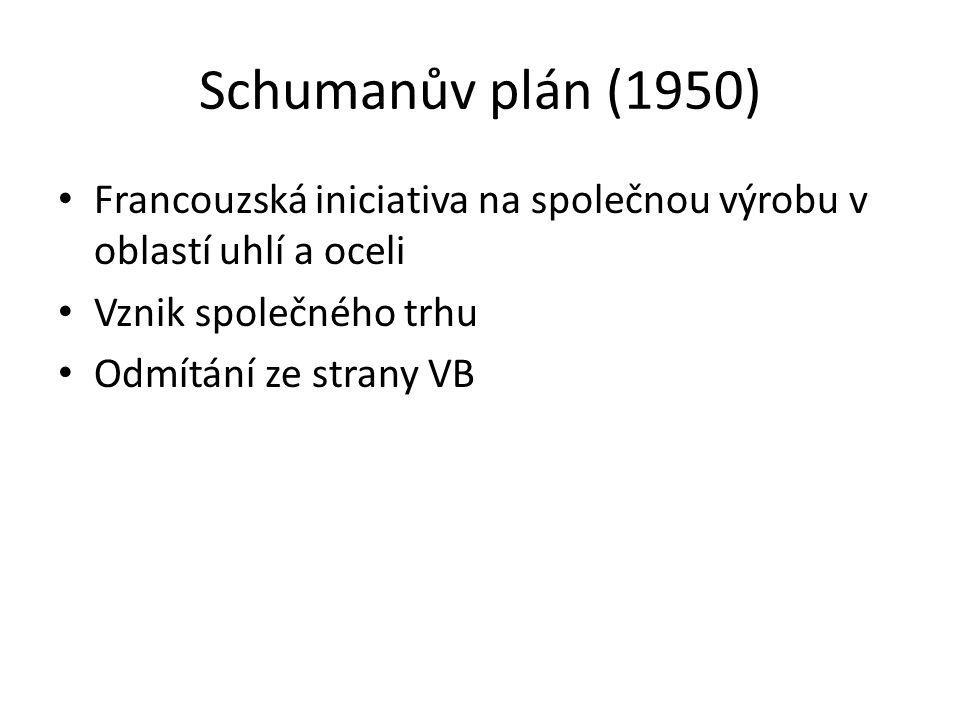 Schumanův plán (1950) Francouzská iniciativa na společnou výrobu v oblastí uhlí a oceli. Vznik společného trhu.