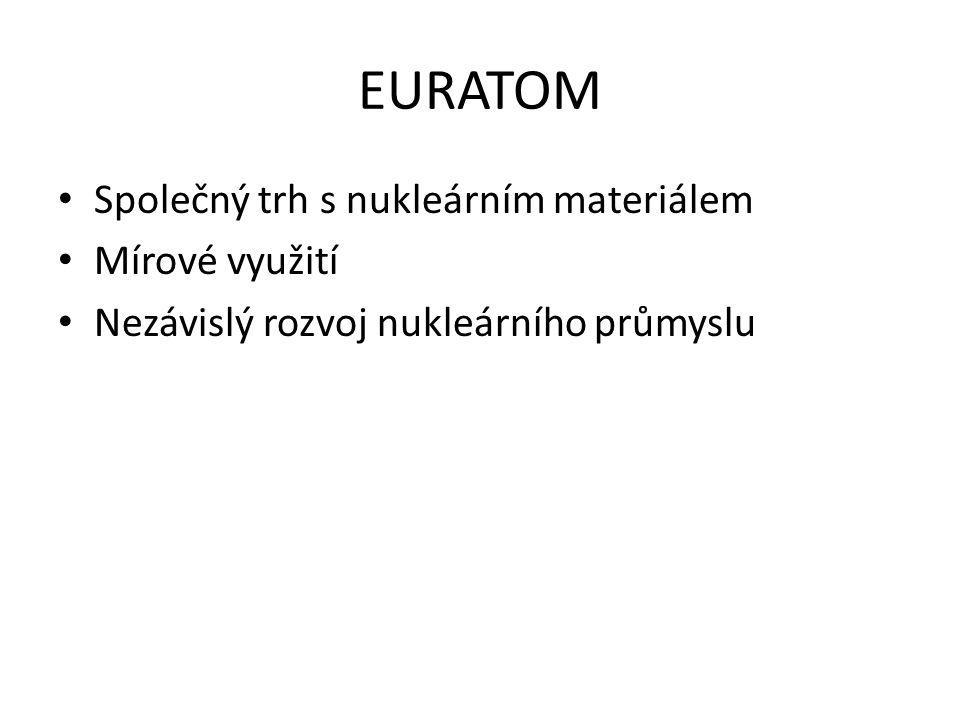 EURATOM Společný trh s nukleárním materiálem Mírové využití