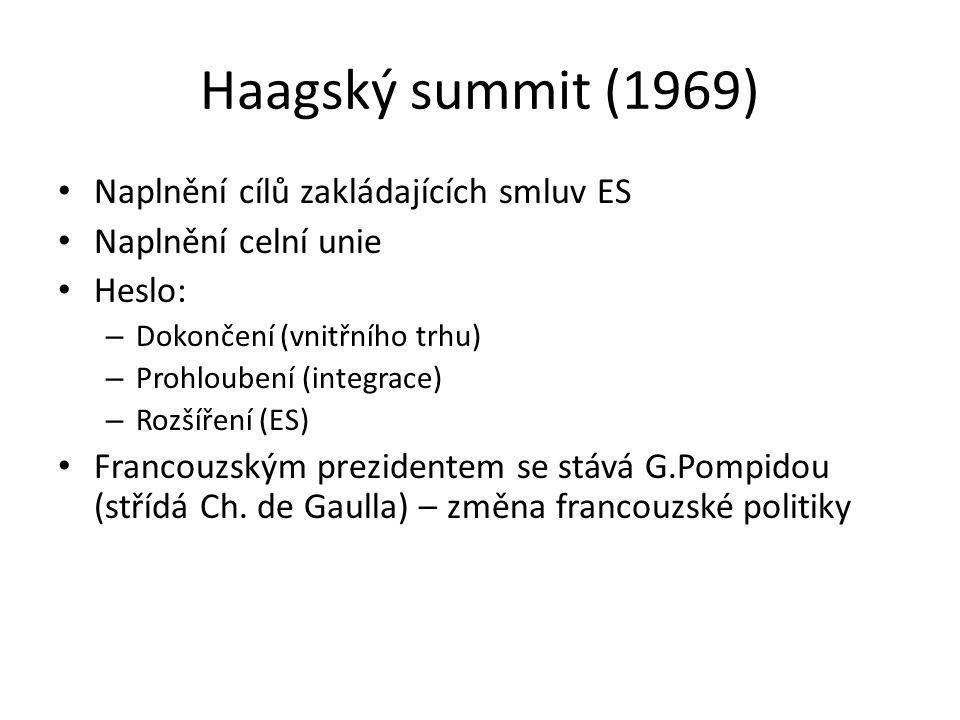 Haagský summit (1969) Naplnění cílů zakládajících smluv ES