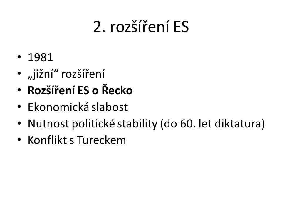 """2. rozšíření ES 1981 """"jižní rozšíření Rozšíření ES o Řecko"""