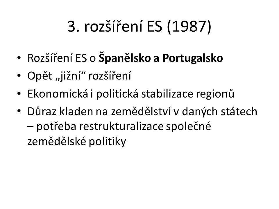 3. rozšíření ES (1987) Rozšíření ES o Španělsko a Portugalsko