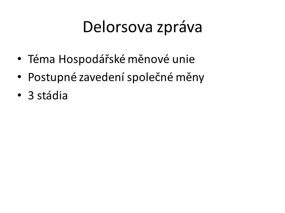 Delorsova zpráva Téma Hospodářské měnové unie