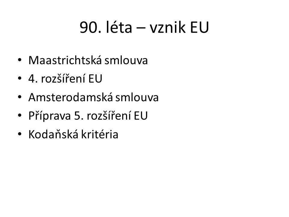 90. léta – vznik EU Maastrichtská smlouva 4. rozšíření EU