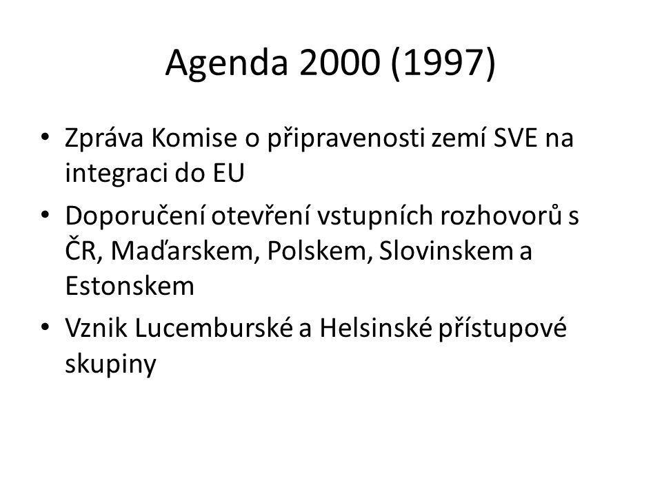 Agenda 2000 (1997) Zpráva Komise o připravenosti zemí SVE na integraci do EU.