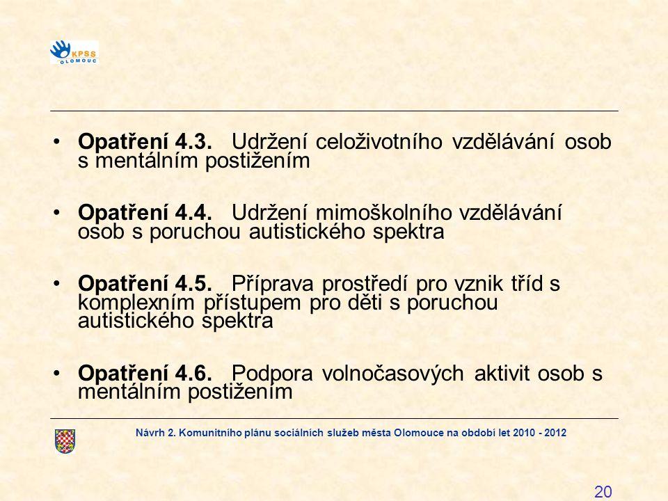 Opatření 4.3. Udržení celoživotního vzdělávání osob s mentálním postižením