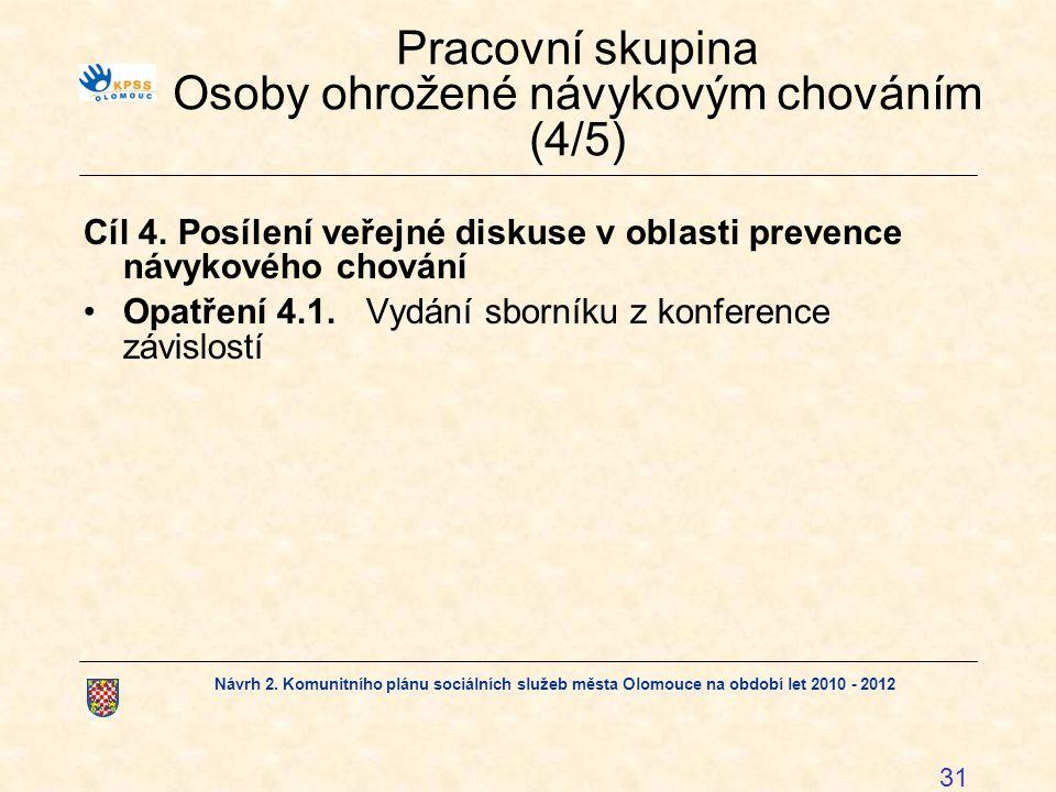 Pracovní skupina Osoby ohrožené návykovým chováním (4/5)