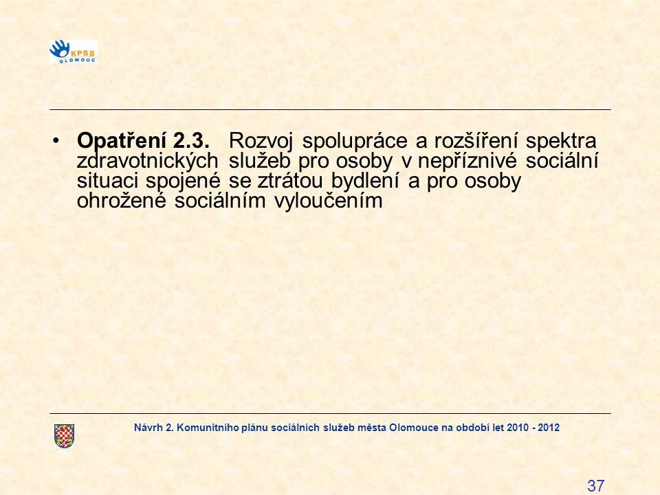 Opatření 2.3. Rozvoj spolupráce a rozšíření spektra zdravotnických služeb pro osoby v nepříznivé sociální situaci spojené se ztrátou bydlení a pro osoby ohrožené sociálním vyloučením