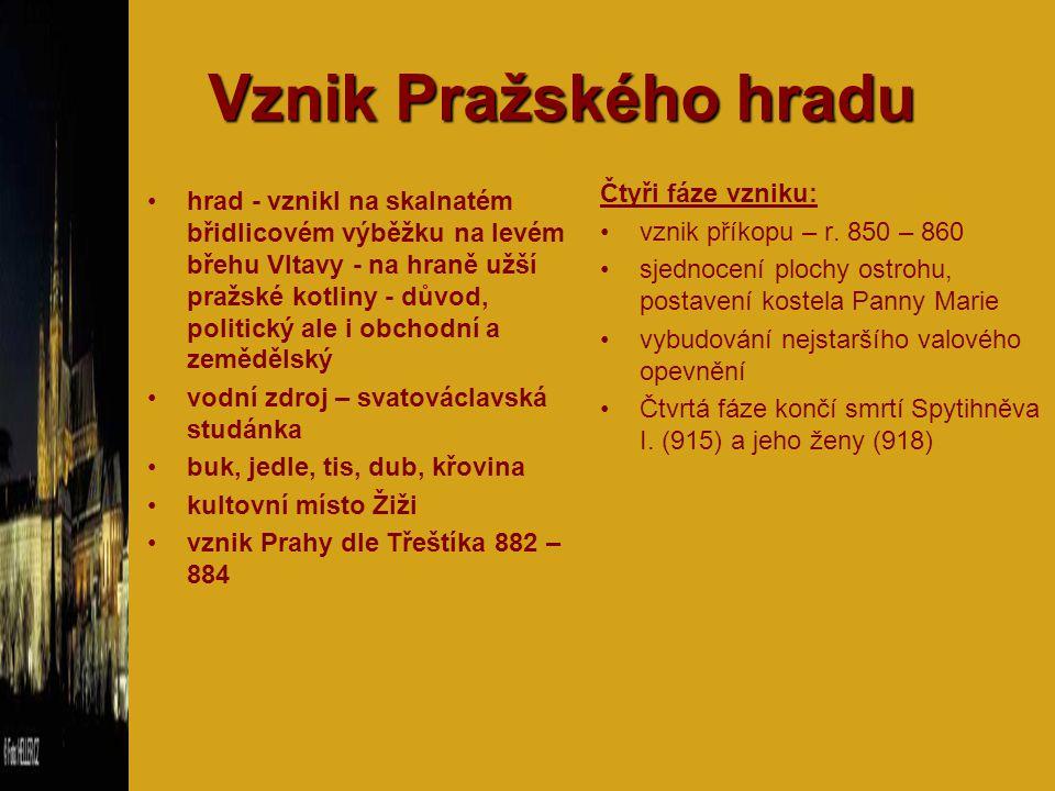 Vznik Pražského hradu Čtyři fáze vzniku: