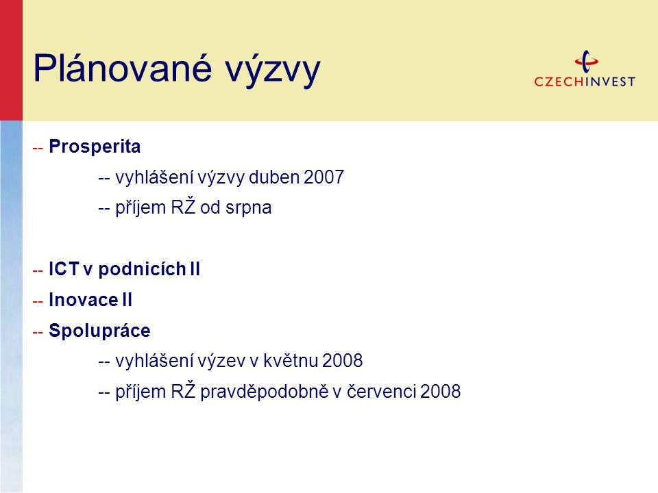 Plánované výzvy -- vyhlášení výzvy duben 2007 -- příjem RŽ od srpna