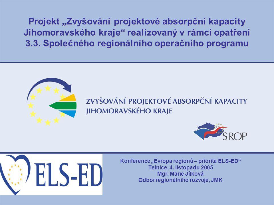"""Projekt """"Zvyšování projektové absorpční kapacity Jihomoravského kraje realizovaný v rámci opatření 3.3. Společného regionálního operačního programu"""
