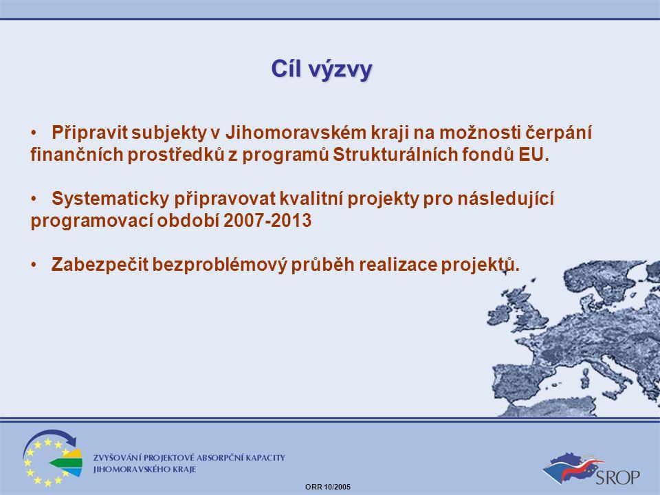 Cíl výzvy Připravit subjekty v Jihomoravském kraji na možnosti čerpání finančních prostředků z programů Strukturálních fondů EU.