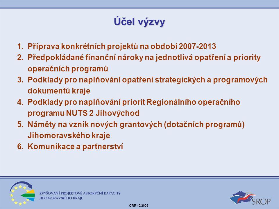 Účel výzvy Příprava konkrétních projektů na období 2007-2013