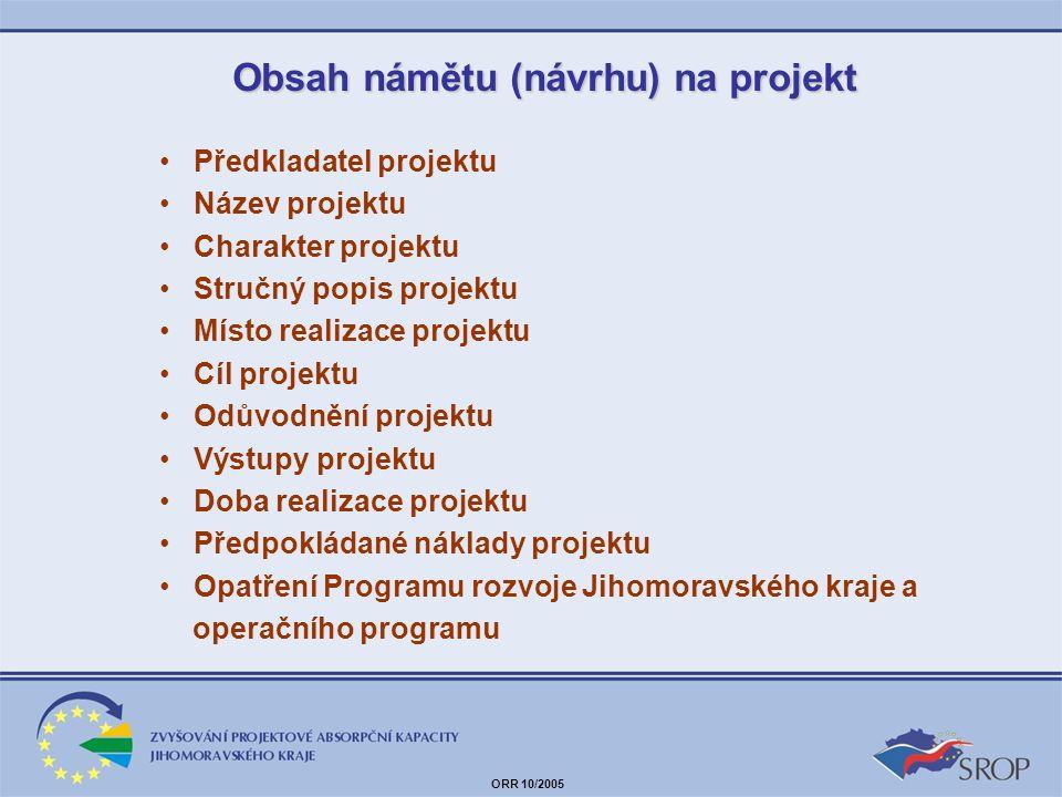 Obsah námětu (návrhu) na projekt