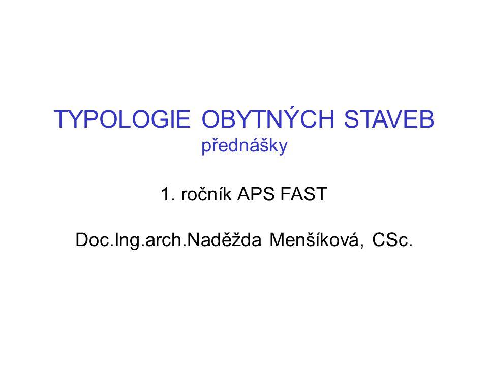 TYPOLOGIE OBYTNÝCH STAVEB přednášky 1. ročník APS FAST Doc. Ing. arch