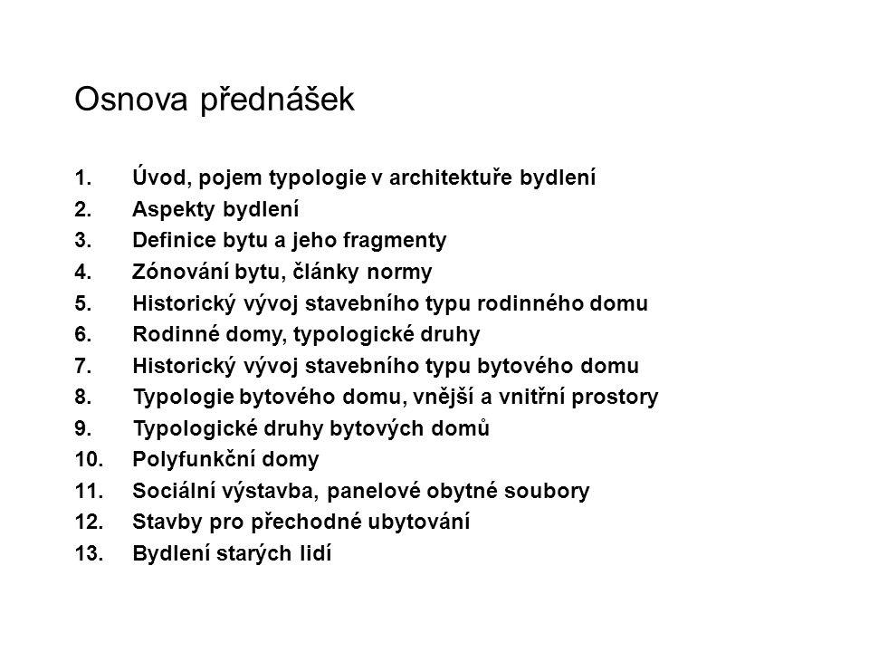 Osnova přednášek Úvod, pojem typologie v architektuře bydlení
