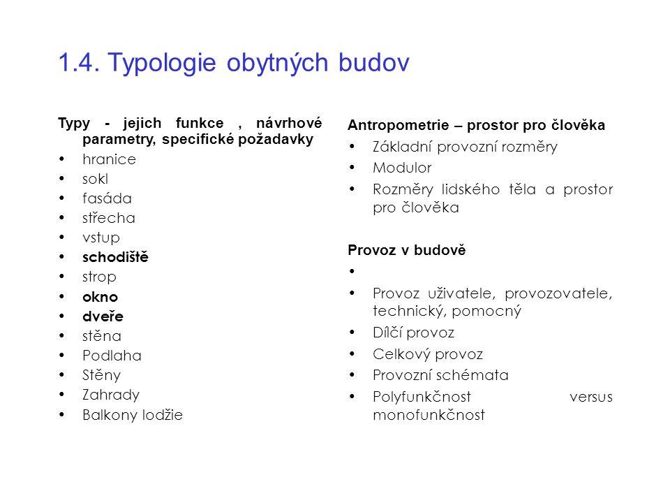 1.4. Typologie obytných budov