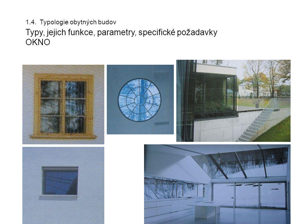 1.4. Typologie obytných budov Typy, jejich funkce, parametry, specifické požadavky OKNO