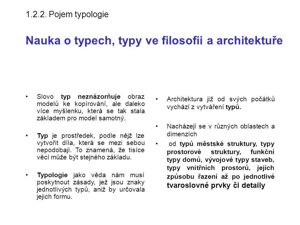1.2.2. Pojem typologie Nauka o typech, typy ve filosofii a architektuře