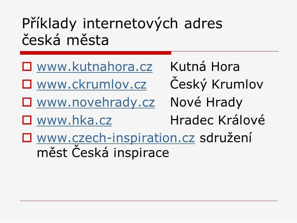 Příklady internetových adres česká města