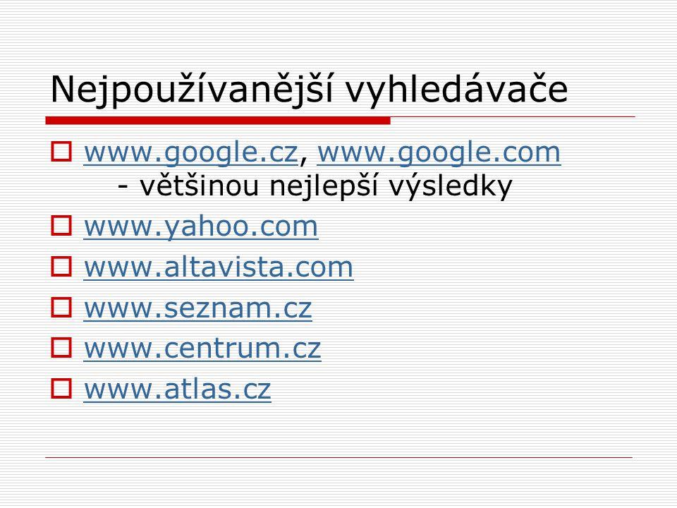 Nejpoužívanější vyhledávače