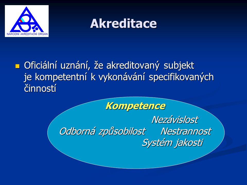 Akreditace Oficiální uznání, že akreditovaný subjekt je kompetentní k vykonávání specifikovaných činností.