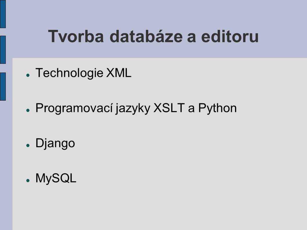 Tvorba databáze a editoru