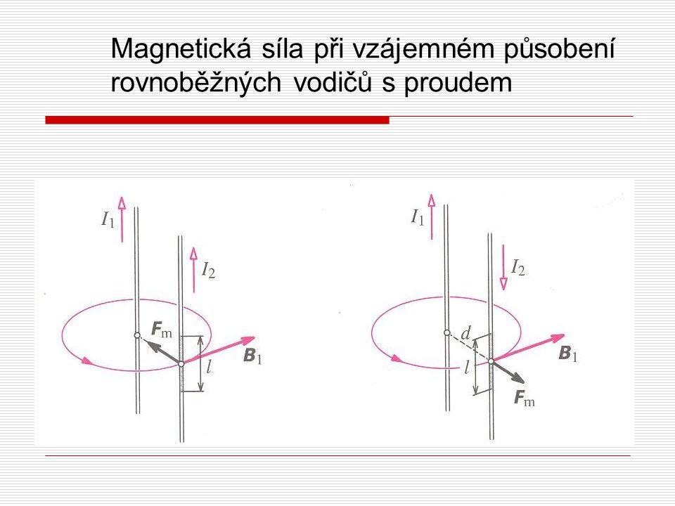 Magnetická síla při vzájemném působení rovnoběžných vodičů s proudem