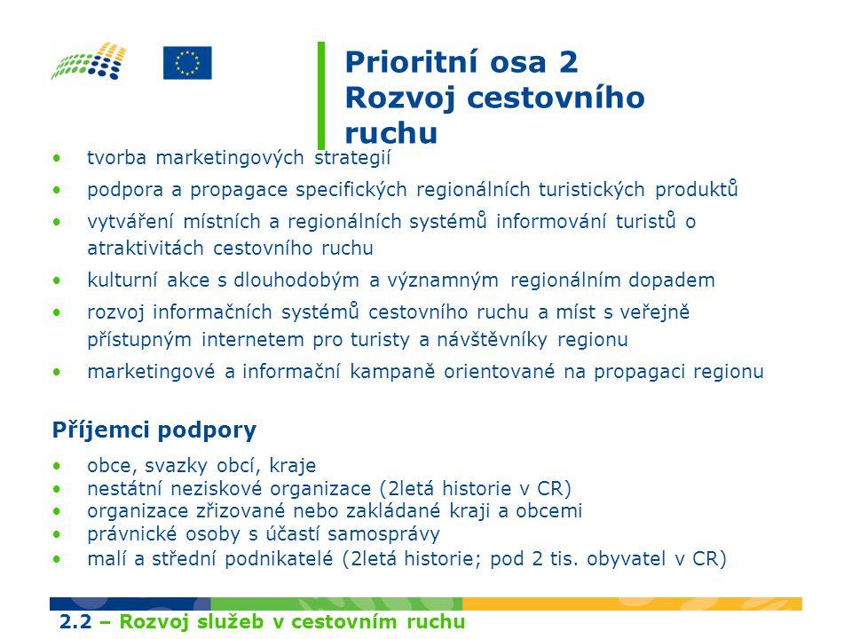 Prioritní osa 2 Rozvoj cestovního ruchu