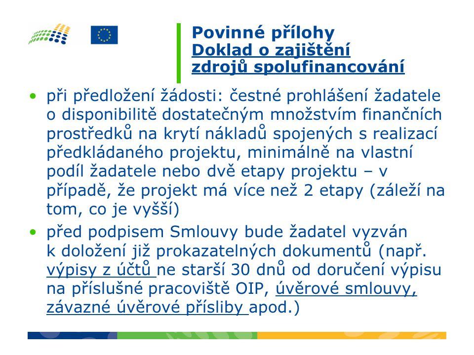 Povinné přílohy Doklad o zajištění zdrojů spolufinancování