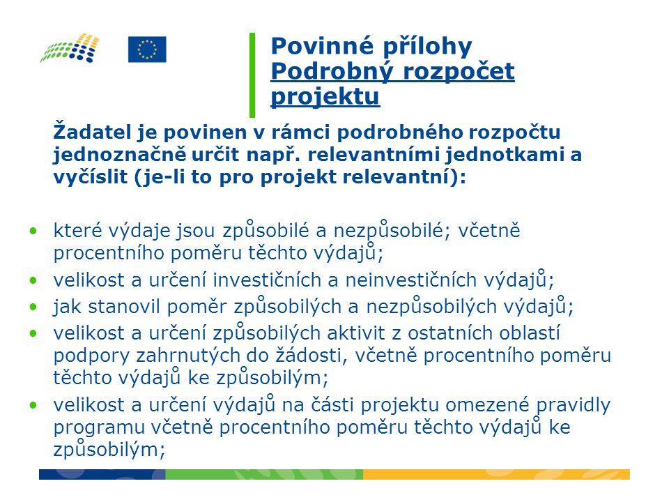 Povinné přílohy Podrobný rozpočet projektu