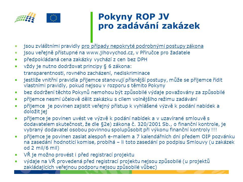 Pokyny ROP JV pro zadávání zakázek