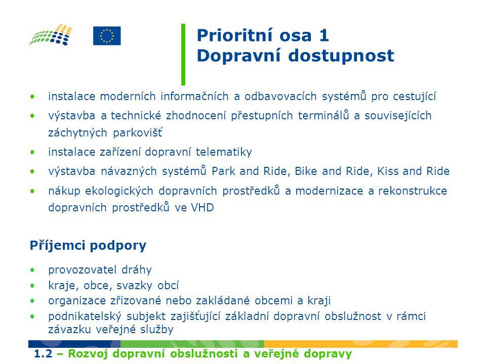 Prioritní osa 1 Dopravní dostupnost