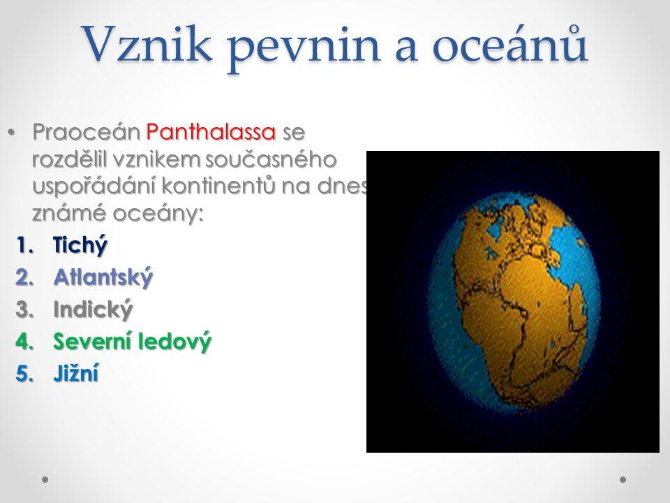 Vznik pevnin a oceánů Praoceán Panthalassa se rozdělil vznikem současného uspořádání kontinentů na dnes známé oceány: