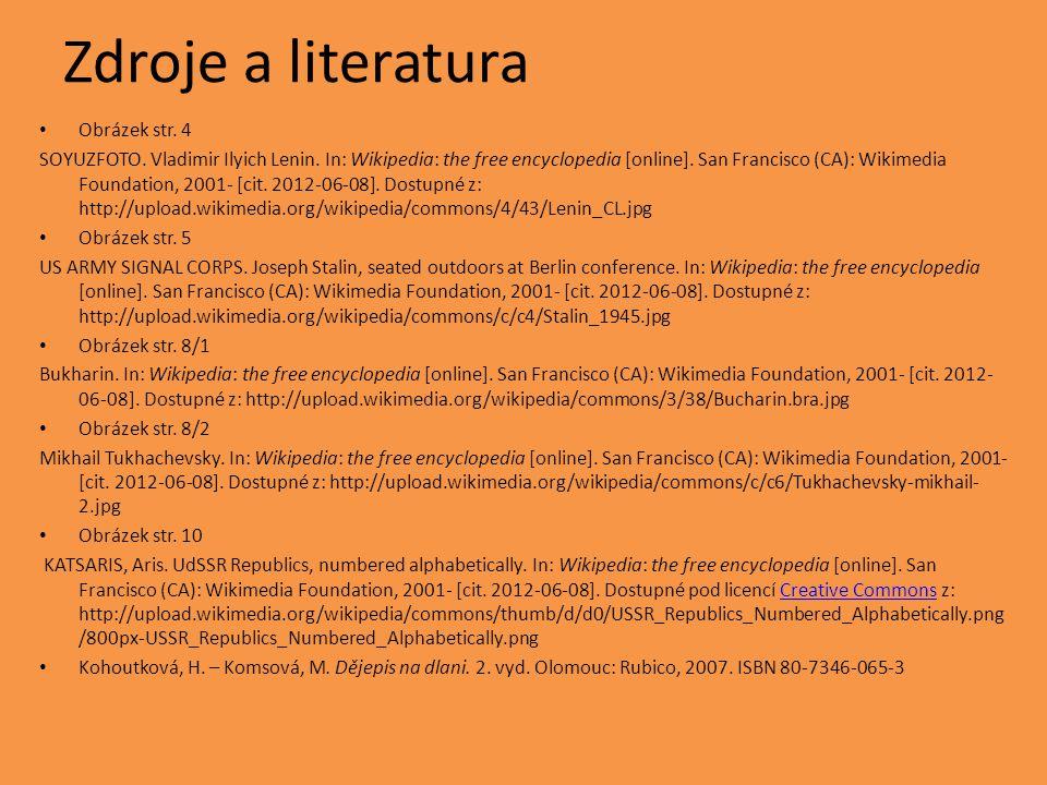Zdroje a literatura Obrázek str. 4