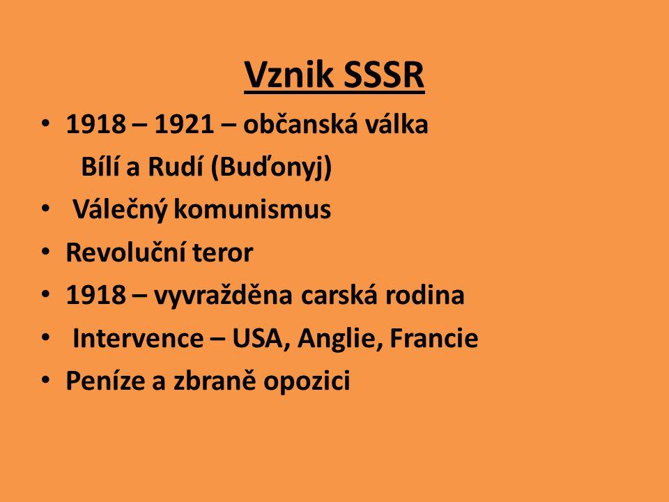 Vznik SSSR 1918 – 1921 – občanská válka Bílí a Rudí (Buďonyj)