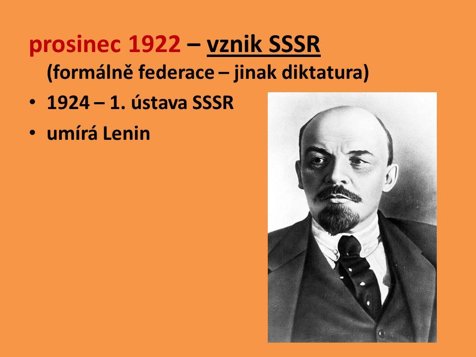 prosinec 1922 – vznik SSSR (formálně federace – jinak diktatura)
