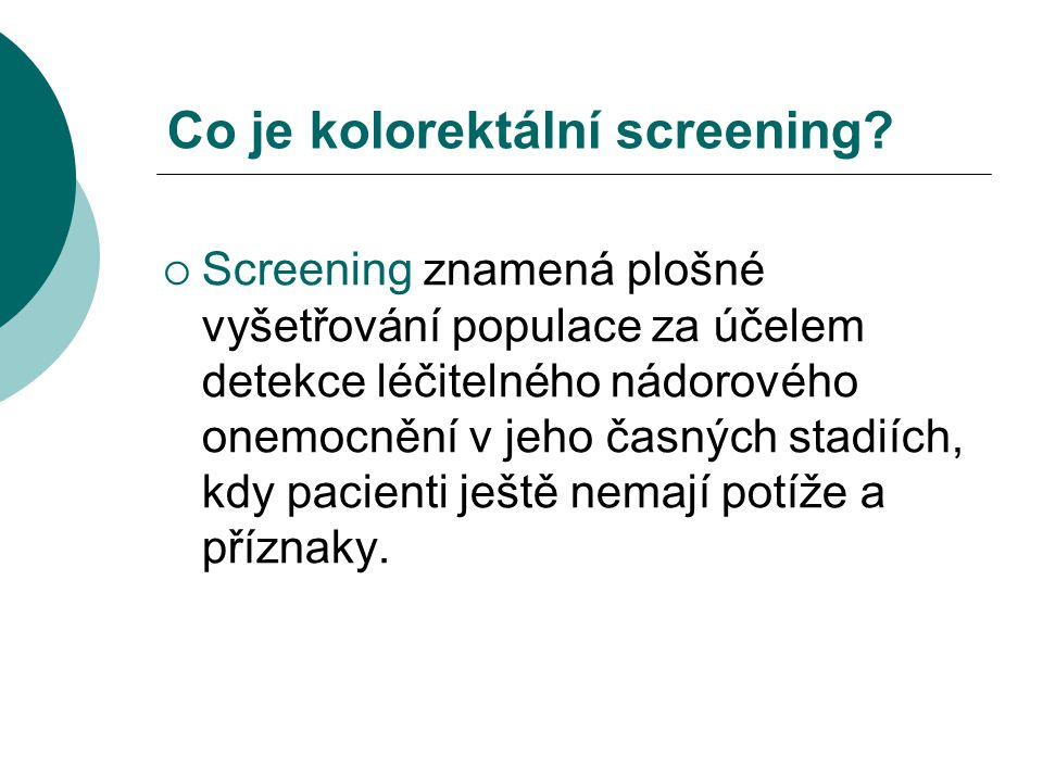 Co je kolorektální screening