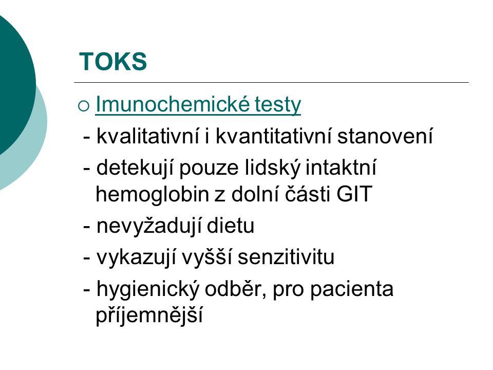 TOKS Imunochemické testy - kvalitativní i kvantitativní stanovení